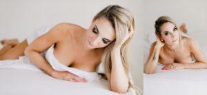white sheet boudoir session