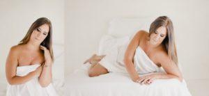 white sheet boudoir photo shoot